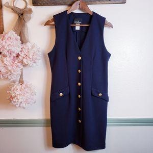 POSITIVE ATTITUDE Business Navy Style Button Dress